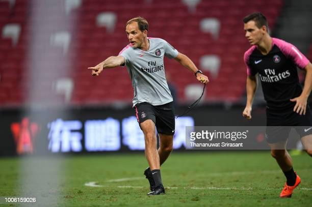 Thomas Tuchel Manager of Paris SaintGerman actions during training ahead of the International Champions Cup 2018 match between Arsenal v Paris Saint...