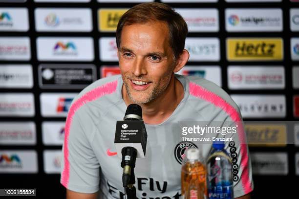 Thomas Tuchel Manager of Paris SaintGerman smiles during pre match press conference ahead of the International Champions Cup 2018 match between...