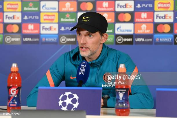 Thomas Tuchel of Chelsea during a press conference at Chelsea Training Ground on October 19, 2021 in Cobham, England.