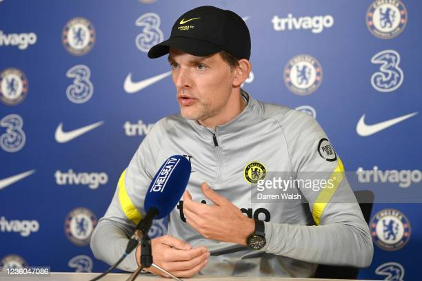 Thomas Tuchel of Chelsea during a press conference at Chelsea Training Ground on October 22, 2021 in Cobham, England.