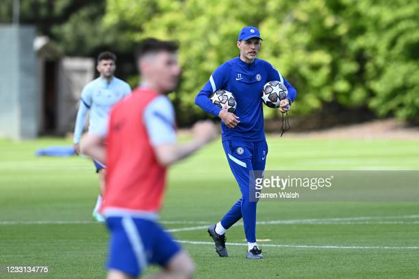 Thomas Tuchel of Chelsea during a training session at Chelsea Training Ground on May 27, 2021 in Cobham, England.