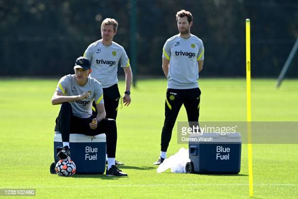 Thomas Tuchel of Chelsea during a training session at Chelsea Training Ground on September 7, 2021 in Cobham, England.