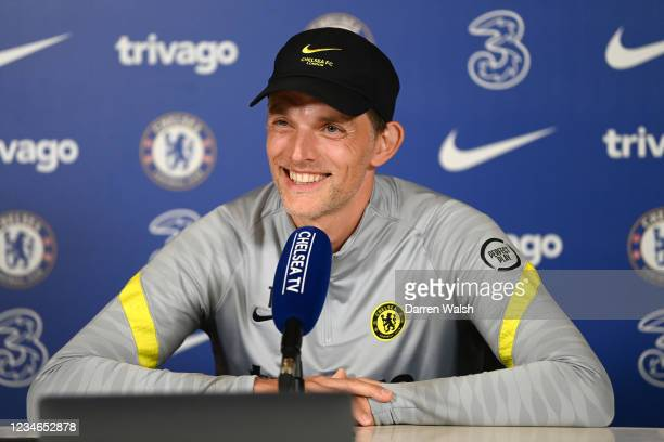 Thomas Tuchel of Chelsea speaks during a press conference at Chelsea Training Ground on August 13, 2021 in Cobham, England.