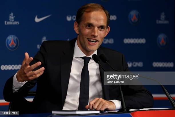 Thomas Tuchel of Germany is presented as new coach of Paris SaintGermain during a press conference at Parc des Princes stadium on May 20 2018 in...