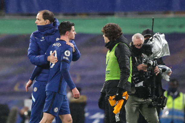 Thomas Tuchel the head coach / manager of Chelsea and Mason Mount of Chelsea during the Premier League match between Chelsea and Wolverhampton...