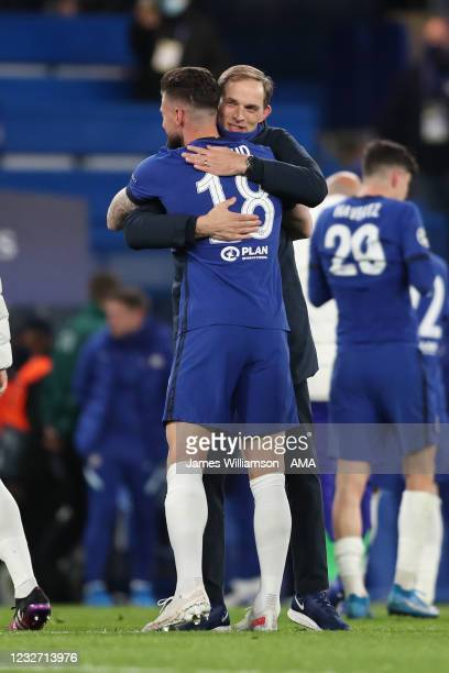 Thomas Tuchel the head coach / manager of Chelsea celebrates victory with Olivier Giroud during the UEFA Champions League Semi Final Second Leg match...