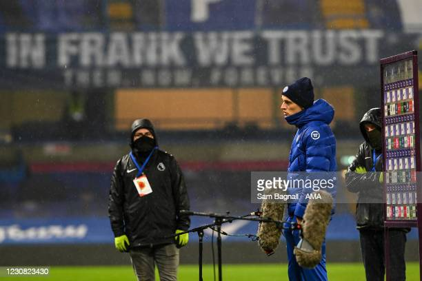 Thomas Tuchel the head coach / manager of Chelsea during a post match interview with a Frank Lampard banner behind him during the Premier League...