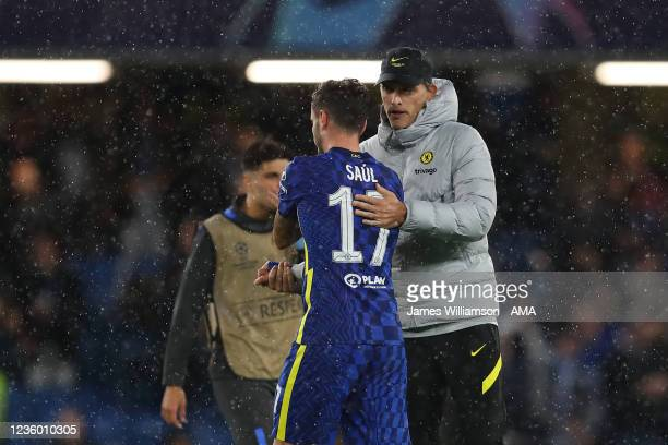 Thomas Tuchel the manager / head coach of Chelsea and Saul Niguez of Chelsea during the UEFA Champions League group H match between Chelsea FC and...