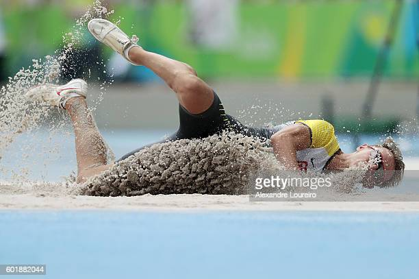 Thomas Ulbricht of Germany in action during the men's long jump T12 final on day 3 of the Rio 2016 Paralympic Games at on September 10 2016 in Rio de...