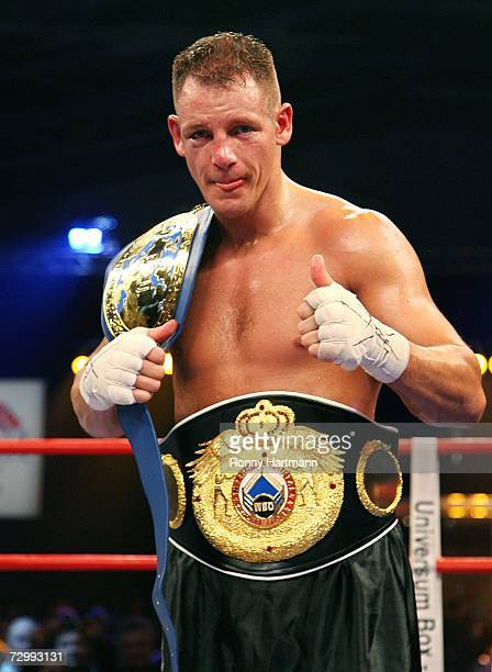 Thomas Ulrich of Germany celebrates after winning his fight against Rachid Kanfouah of France during the vacant EBU and WBO Intercontinental Light...