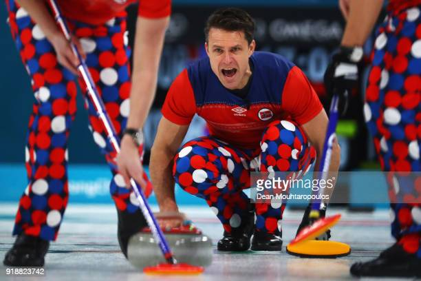 Thomas Ulsrud of Norway competes in the Curling Men's Round Robin Session 4 held at Gangneung Curling Centre on February 16 2018 in Gangneung South...
