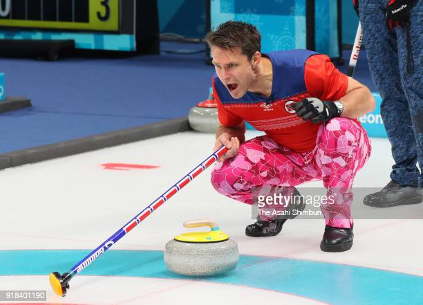 Thomas Ulsrud of Norway shouts instruction in the Curling Men's Round Robin Session 1 against Japan on day five of the PyeongChang Winter Olympic...