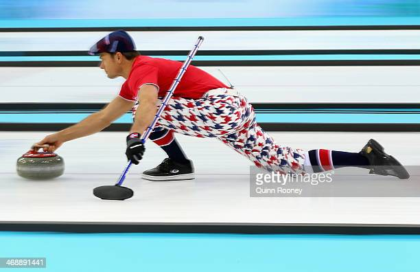 Thomas Ulsrud of Norway slides with the stone during Curling Men's Round Robin match between Norway and Germany during day five of the Sochi 2014...