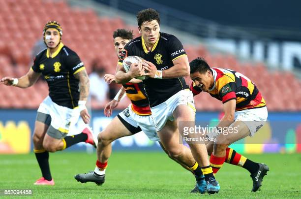 Thomas Umaga Jensen of Waikato makes a break during the round six Mitre 10 Cup match between Waikato and Wellington at FMG Stadium on September 23...