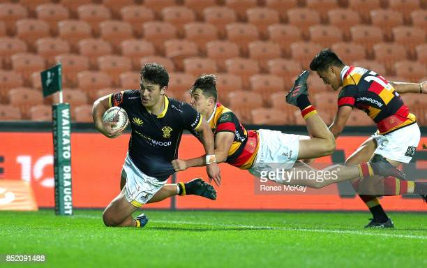 Thomas Umaga Jensen scores a try for Wellington during the round six Mitre 10 Cup match between Waikato and Wellington at FMG Stadium on September 23...