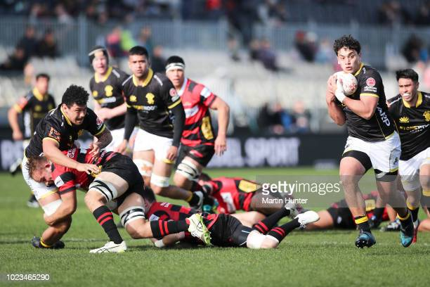 Thomas UmagaJensen of Wellington breaks away to score a try during the round two Mitre 10 Cup match between Canterbury and Wellington at AMI Stadium...