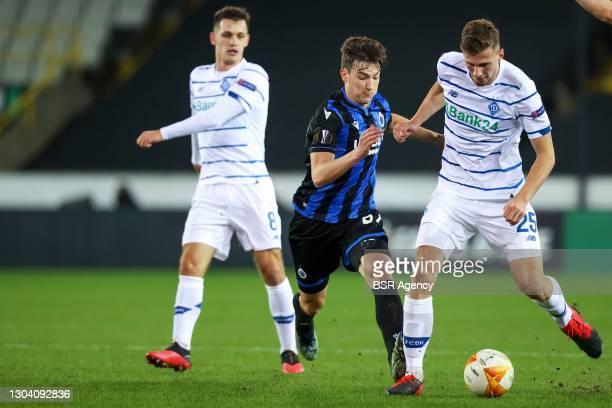 Thomas van den Keybus of Club Brugge and Illia Zabarnyi of Dynamo Kiev during the UEFA Europa League match between Club Brugge and FC Dynamo Kyiv at...