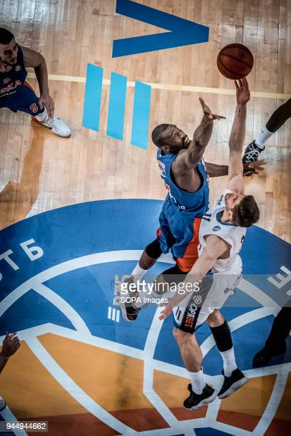 Thomas van der Mars of BC Kalev Cramo and Othello Hunter of CSKA Moscow in action during the VTB United League game as BC Kalev Cramo lost 95:105 to...