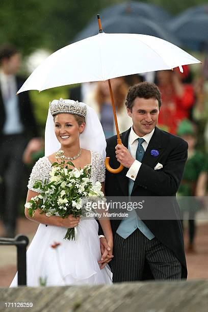 Thomas van Straubenzee and Bride Lady Melissa Percy are seen leaving their wedding at Alnwick Castle on June 22 2013 in Alnwick England