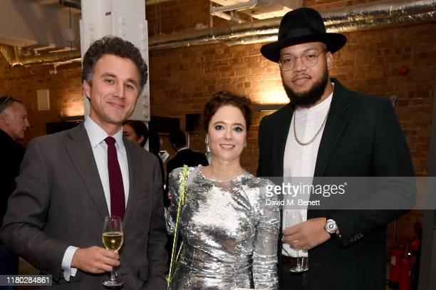Thomas van Straubenzee, Josina von dem Bussche-Kessell, Rorrey Fenty attend the Legado x Faberge x Rome de Bellegarde VIP party at The Vinyl Factory...
