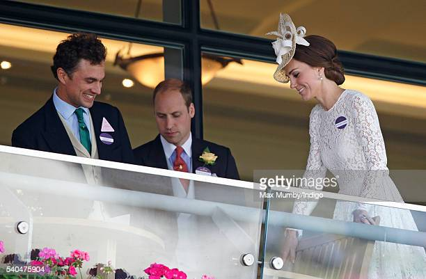 Thomas van Straubenzee Prince William Duke of Cambridge and Catherine Duchess of Cambridge watch the racing as they attend day 2 of Royal Ascot at...
