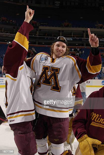 Thomas Vanek of Minnesota celebrates after they beat New Hampshire 5-1 during the NCAA Frozen Four Championship game on April 12, 2003 at HSBC Arena...