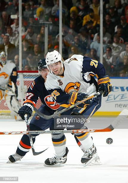 Thomas Vanek of the Buffalo Sabres and Randy Robitaille of the New York Islanders during Game 3 of the 2007 Eastern Conference Quarterfinals on April...