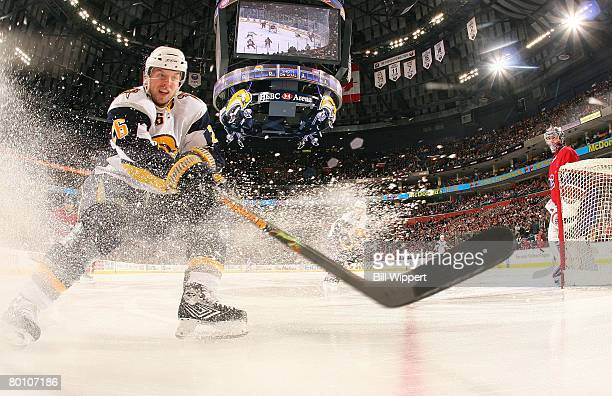 Thomas Vanek of the Buffalo Sabres chases the puck behind the net against the Montreal Canadiens on February 29, 2008 at HSBC Arena in Buffalo, New...