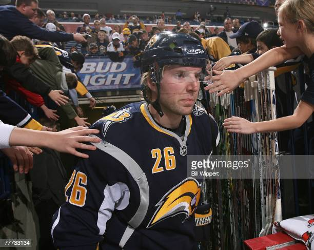Thomas Vanek of the Buffalo Sabres is greeted by fans as he heads to the ice against the Florida Panthers on November 2, 2007 at HSBC Arena in...