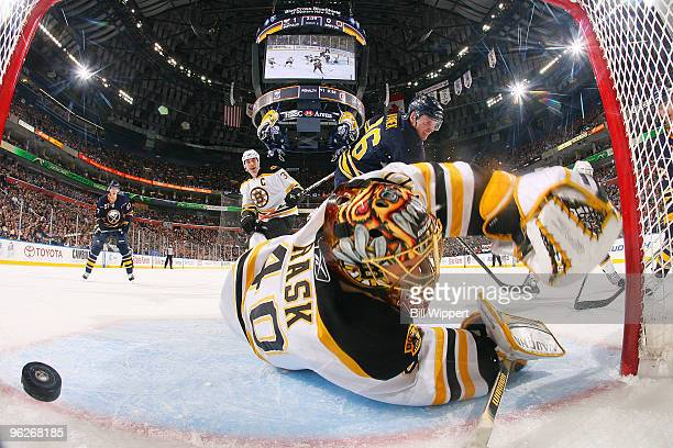 Thomas Vanek of the Buffalo Sabres scores a first period goal against Tuukka Rask of the Boston Bruins on January 29, 2010 at HSBC Arena in Buffalo,...
