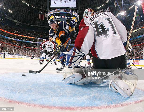 Thomas Vanek of the Buffalo Sabres scores a third period goal against Craig Anderson of the Colorado Avalanche on January 9, 2010 at HSBC Arena in...