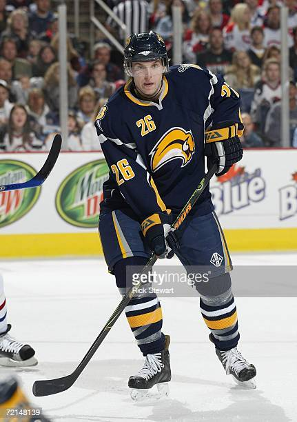 Thomas Vanek of the Buffalo Sabres skates against the Montreal Canandiens during their NHL preseason game on October 6, 2006 at HSBC Arena in...