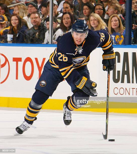 Thomas Vanek of the Buffalo Sabres skates against the Pittsburgh Penguins on December 29, 2009 at HSBC Arena in Buffalo, New York.