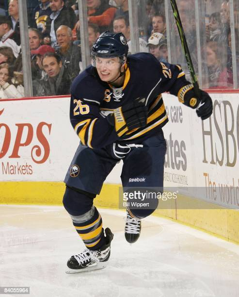 Thomas Vanek of the Buffalo Sabres skates against the Toronto Maple Leafs on December 12, 2008 at HSBC Arena in Buffalo, New York.