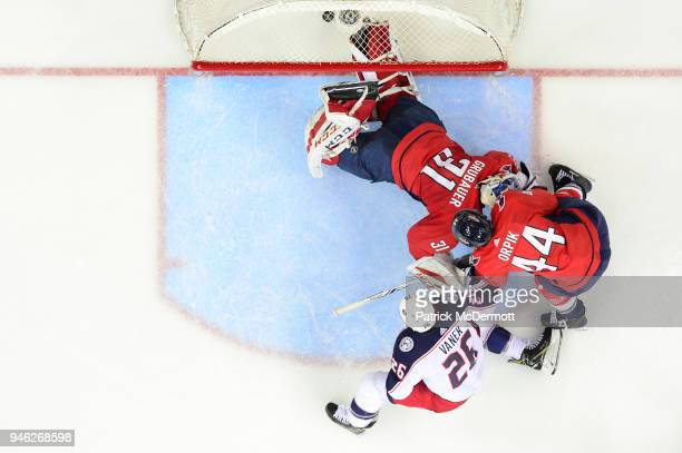 Thomas Vanek of the Columbus Blue Jackets scores a third period goal against Philipp Grubauer of the Washington Capitals in Game One of the Eastern...