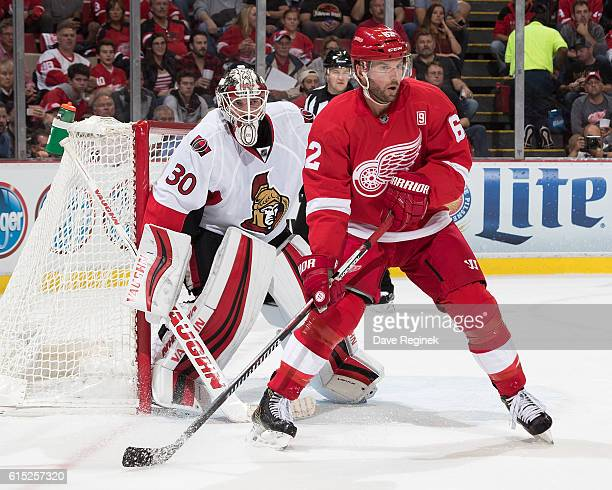 Thomas Vanek of the Detroit Red Wings screens the view of Andrew Hammond of the Ottawa Senators during an NHL game at Joe Louis Arena on October 17...