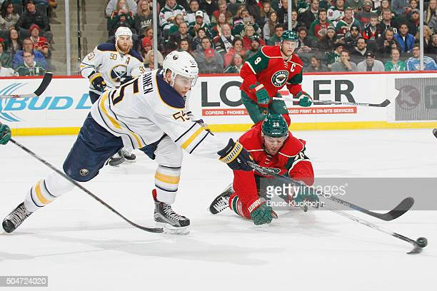 Thomas Vanek of the Minnesota Wild knocks the puck away from Rasmus Ristolainen of the Buffalo Sabres during the game on January 12 2016 at the Xcel...