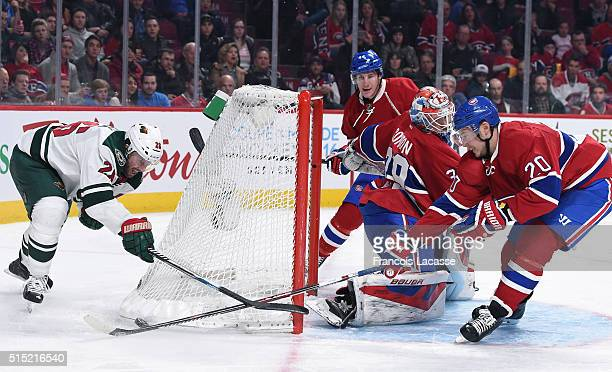 Thomas Vanek of the Minnesota Wild takes a shot on goal Mike Condon of the Montreal Canadiens in the NHL game at the Bell Centre on March 12 2016 in...