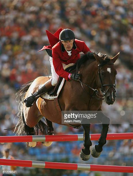Thomas Velin of Denmark riding Carutecompetes in the individual show jumping event on August 27 2004 during the Athens 2004 Summer Olympic Games at...