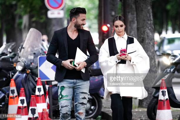 Thomas Vergara and Nabilla Benattia attend the Scandal A Paris JeanPaul Gaultier's New Fragance Launch Dinner Party At Lassere on April 24 2019 in...
