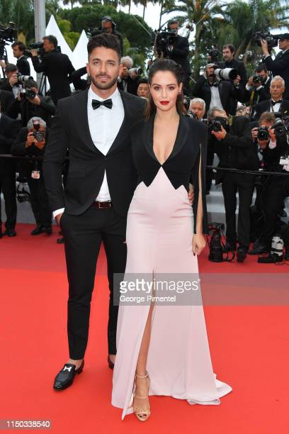 Thomas Vergara and Nabilla Benattia attend the screening of A Hidden Life during the 72nd annual Cannes Film Festival on May 19 2019 in Cannes France