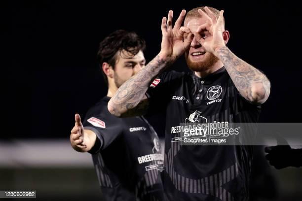 Thomas Verheydt of Almere City celebrates 0-2 during the Dutch Keuken Kampioen Divisie match between AZ Alkmaar U23 v Almere City at the AFAS...