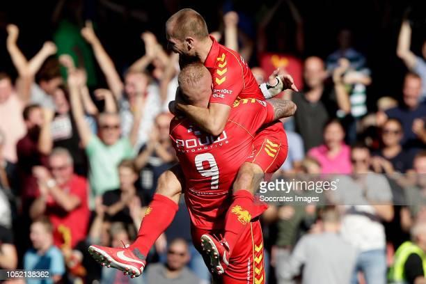 Thomas Verheydt of Go Ahead Eagles celebrates 20 with Roland Baas of Go Ahead Eagles during the Dutch Keuken Kampioen Divisie match between Go Ahead...