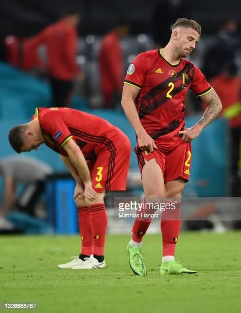 Thomas Vermaelen and Toby Alderweireld of Belgium look dejected after the UEFA Euro 2020 Championship Quarter-final match between Belgium and Italy...