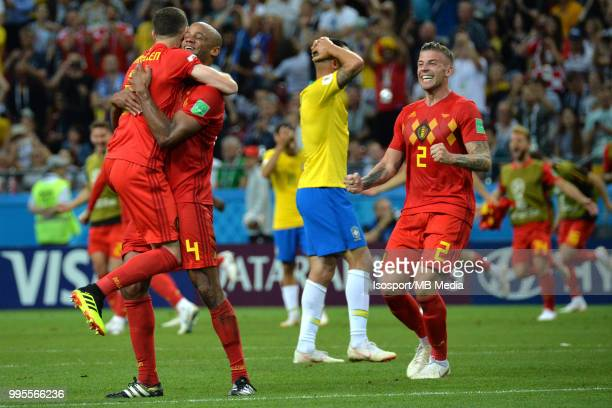 Thomas Vermaelen and Vincent Kompany celebrate after winning the 2018 FIFA World Cup Russia Quarter Final match between Brazil and Belgium at Kazan...