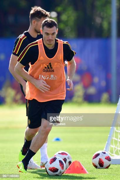 Thomas Vermaelen defender of Belgium in action during a training session as part of the preparation prior to the FIFA 2018 World Cup Russia Playoff...