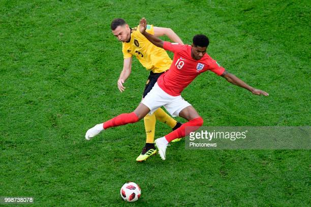 Thomas Vermaelen defender of Belgium Marcus Rashford forward of England during the FIFA 2018 World Cup Russia Playoff for third place match between...