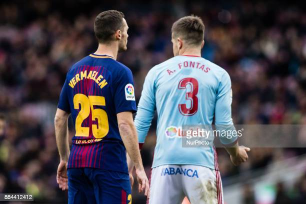 Thomas Vermaelen from Belgium of FC Barcelona during the La Liga match between FC Barcelona v Celta de Vigo at Camp Nou Stadium on December 2 2017 in...