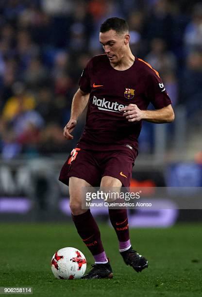 Thomas Vermaelen of Barcelona in action during the Copa Del Rey 1st leg match between RCD Espanyol and FC Barcelona at Nuevo Estadio de CornellaEl...