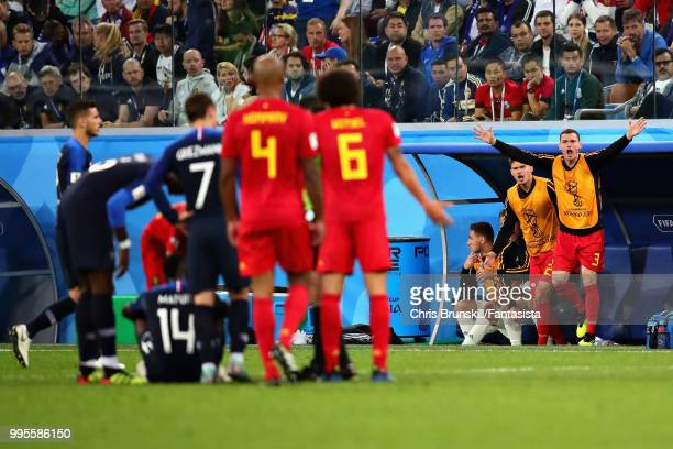 Thomas Vermaelen of Belgium appeals from the substitutes bench during the 2018 FIFA World Cup Russia Semi Final match between Belgium and France at...